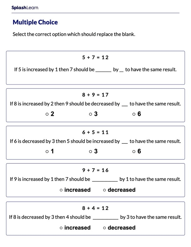Complete the Statements Using Addition Sentence