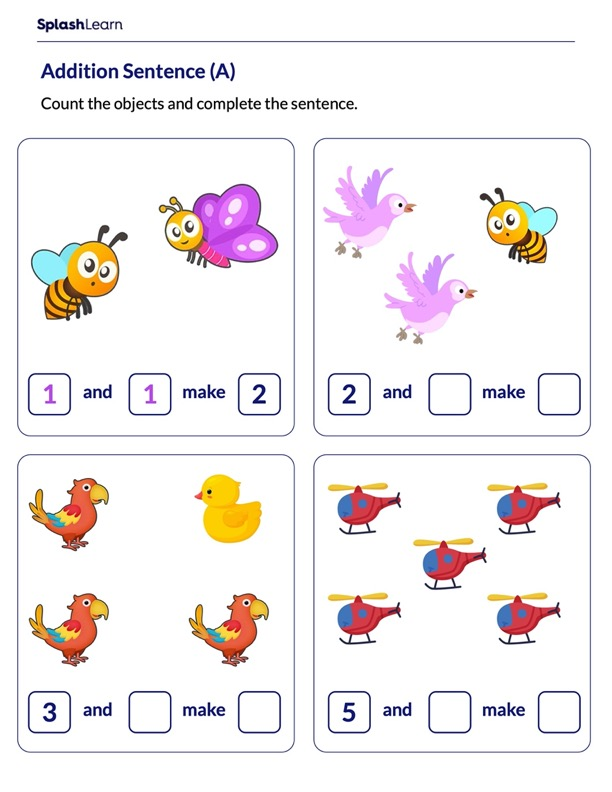 Count to Complete Addition Sentences