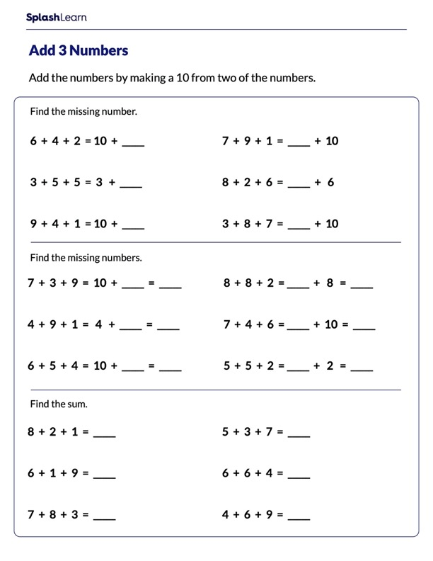 Add by Making a 10 Worksheet