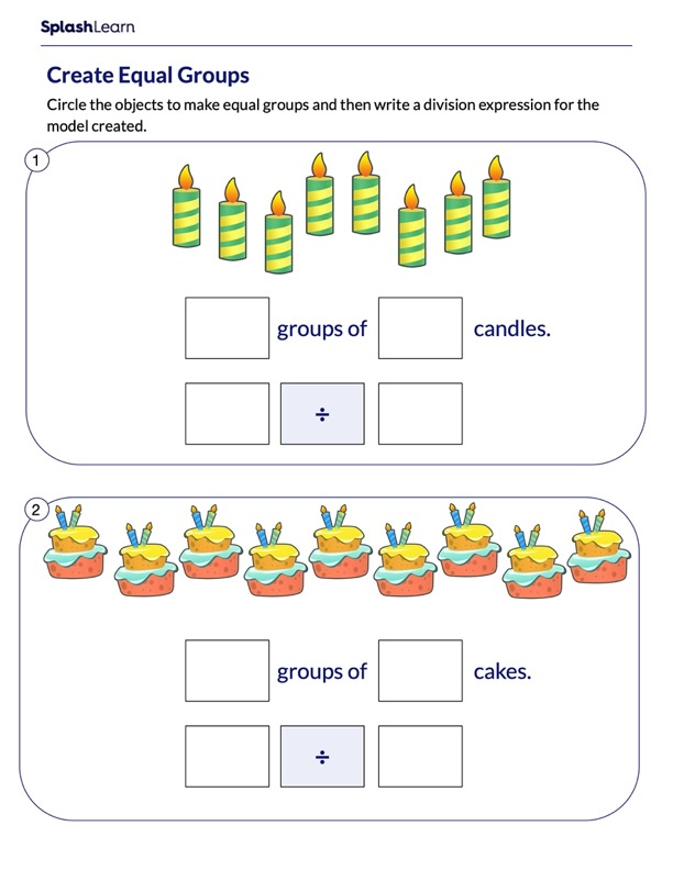 Write Division Expression for the Equal Groups
