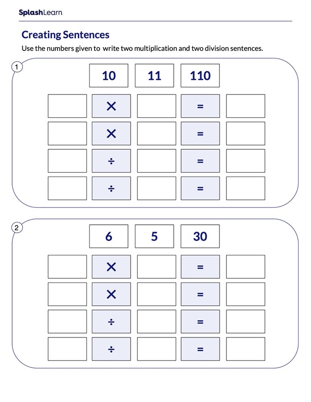 Creating Multiplication and Division Sentences