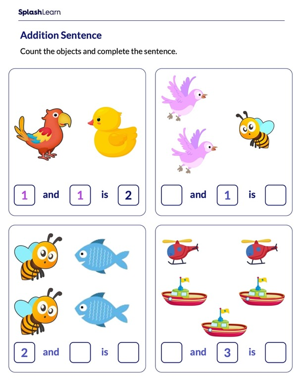 Complete Addition Sentences using Pictures