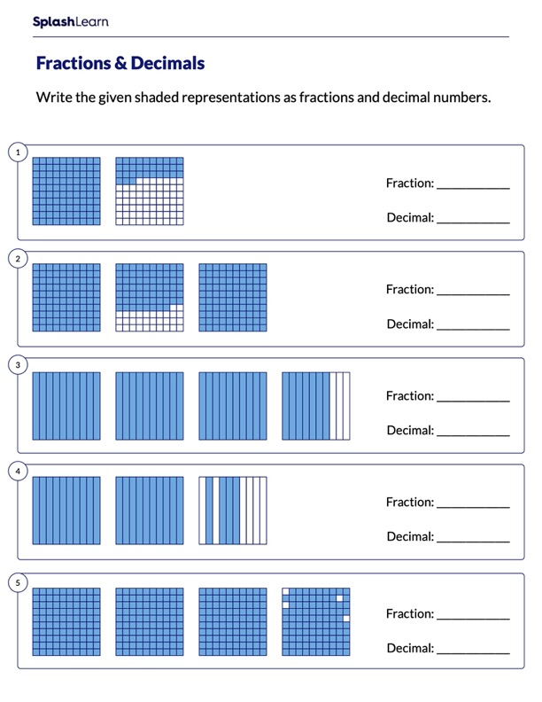 Identify Place Value Grids as Fractions & Decimals
