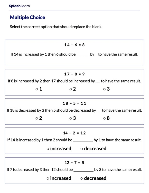 Complete the Statements Using Subtraction Sentence