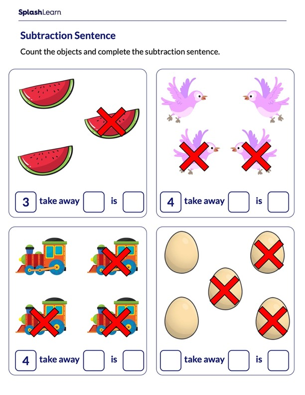 Complete Subtraction Sentence Using Pictures