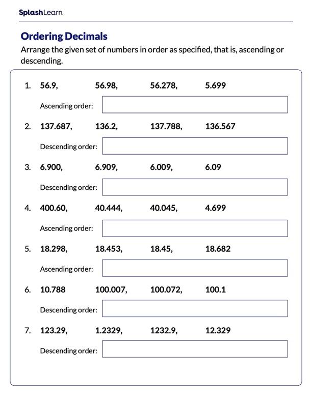 Arranging Decimals in Ascending/Descending Order