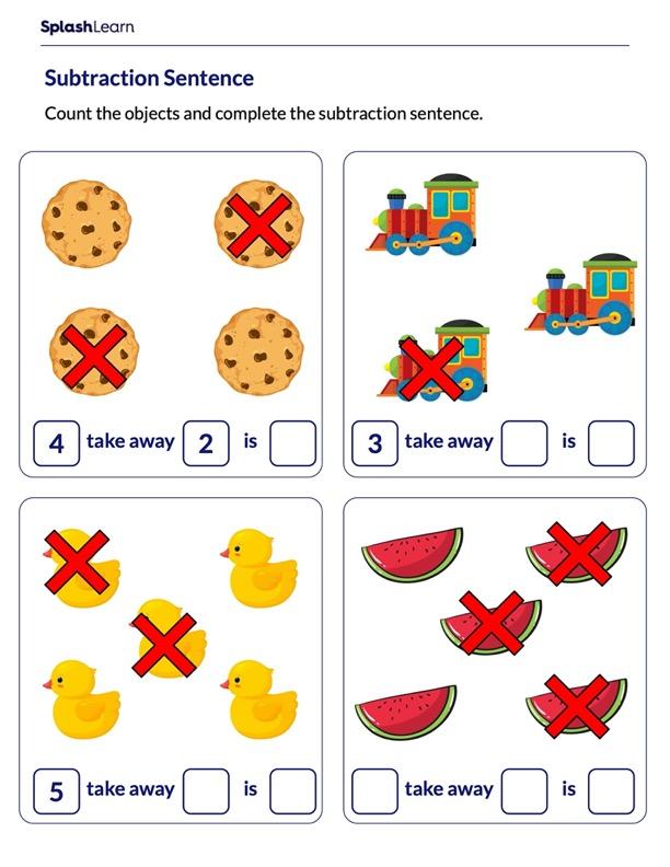 Subtraction Sentence Worksheet