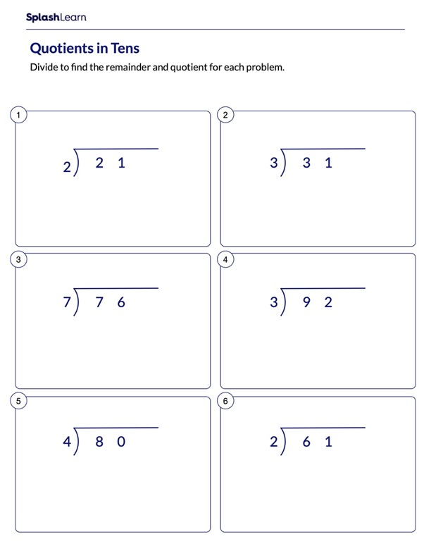 Divide and Find Quotients in Tens