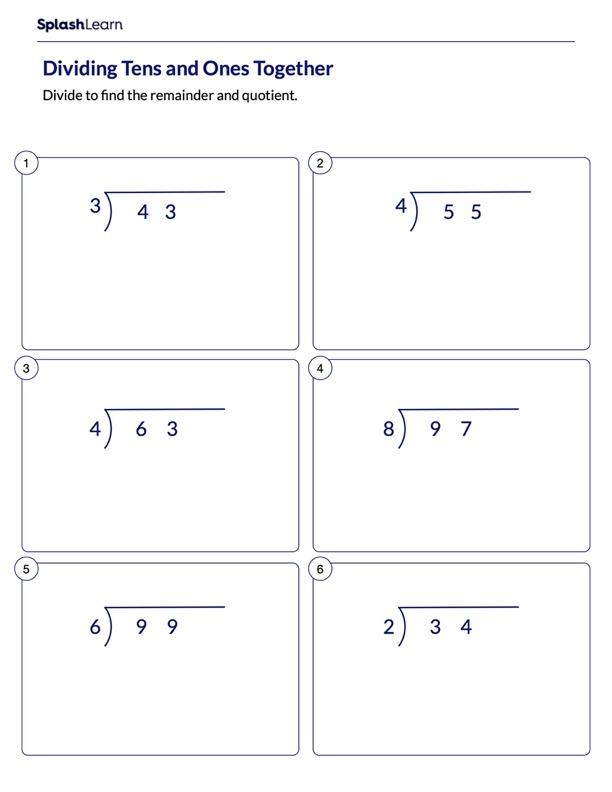 Divide 2-Digit Numbers by 1-Digit Numbers