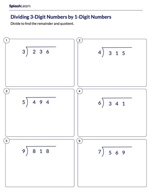 Divide 3-Digit Numbers by 1-Digit Numbers