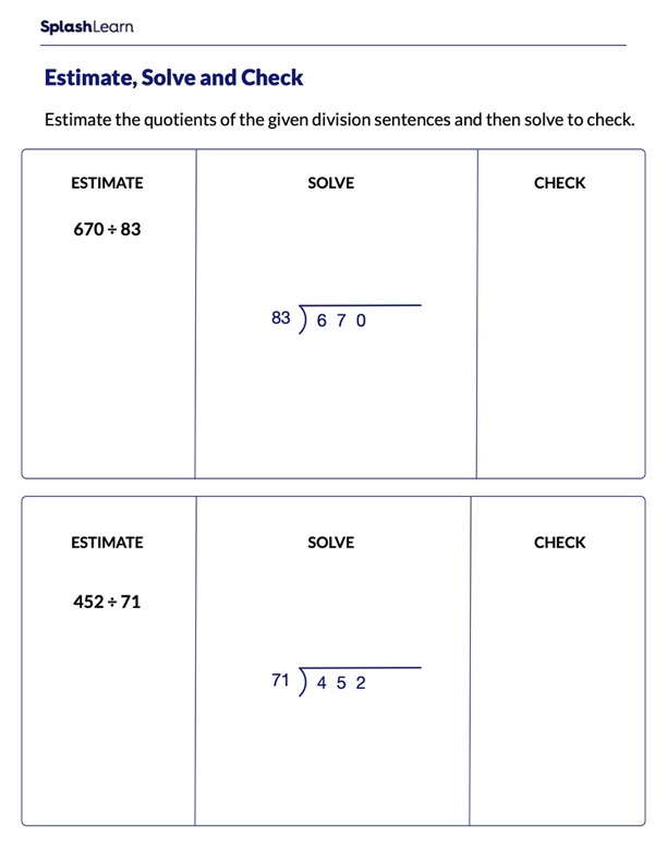 Estimate Solve and Check the Division Problems