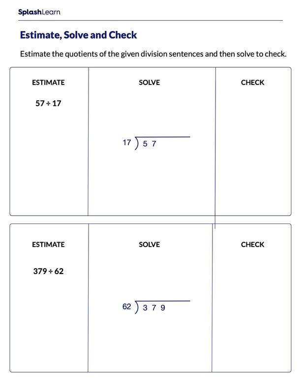 Estimate Solve and Check the Division Sentences