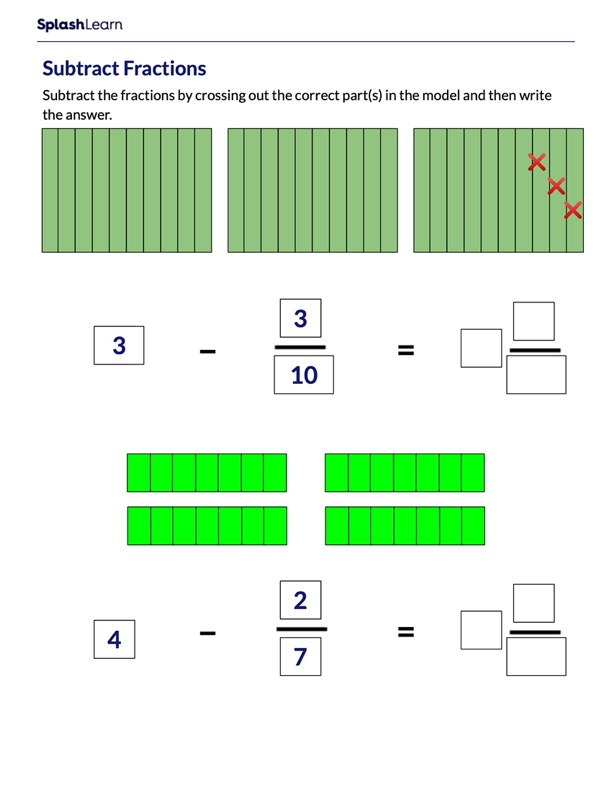 Subtract Fractions From Whole Number Using Model