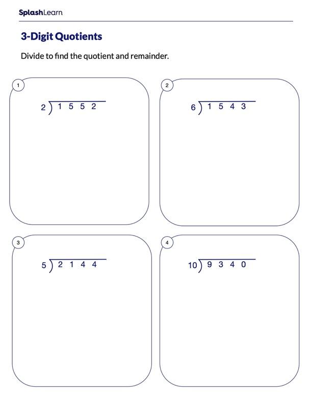 Divide 4-Digit Numbers by 1-Digit Numbers