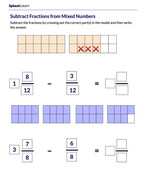 Subtract Fractions from Mixed Numbers
