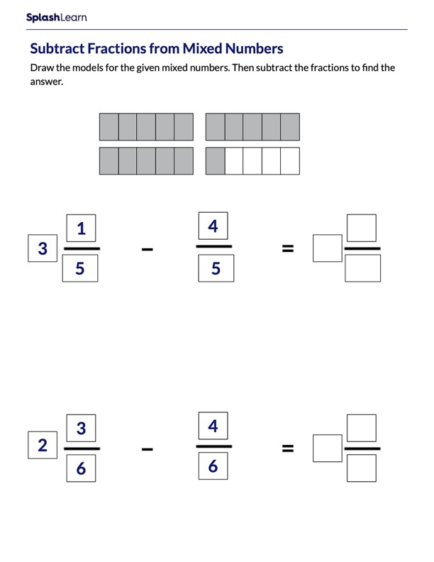 Fractions and Mixed Numbers Subtraction