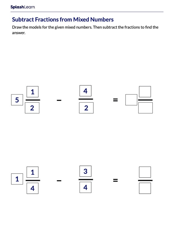 Draw Model to Subtract Fractions
