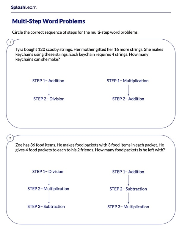 Sequence the Steps of Division Word Problems