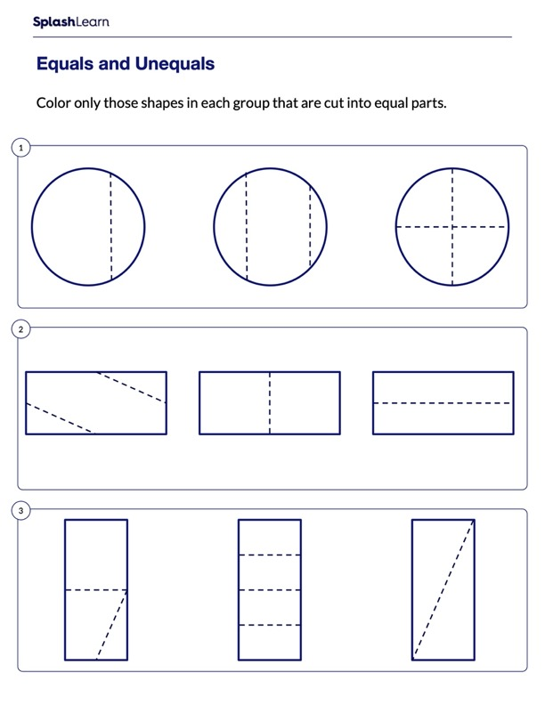 Color Shapes Divided into Equal Parts