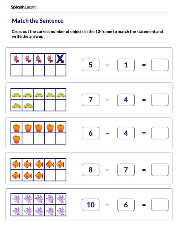 Represent Subtraction Sentence on 10-frames