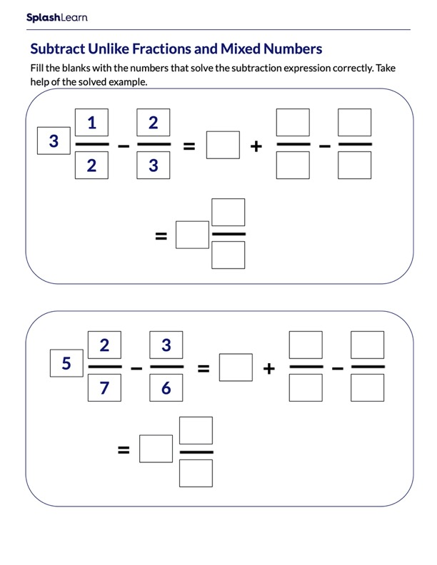 Unlike Fractions and Mixed Numbers Subtraction