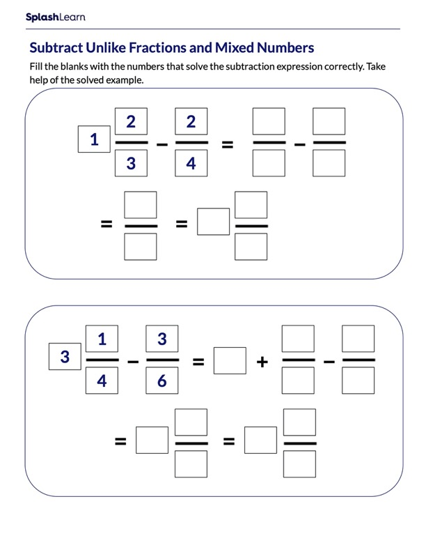 Subtract Unlike Fractions From Mixed Numbers