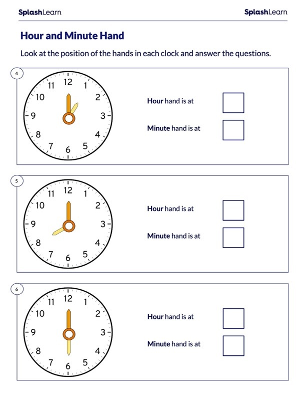 Position of Hour and Minute Hand