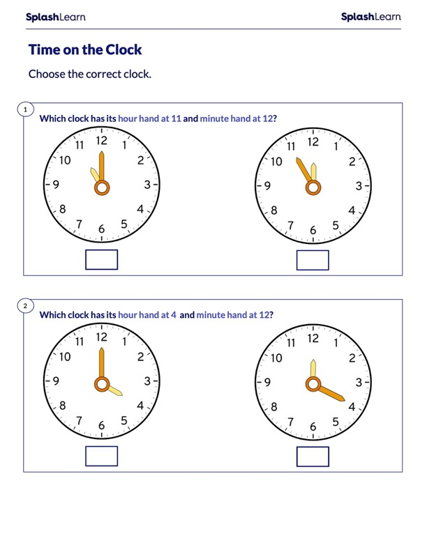 Identify the Positions of Minute and Hour Hands
