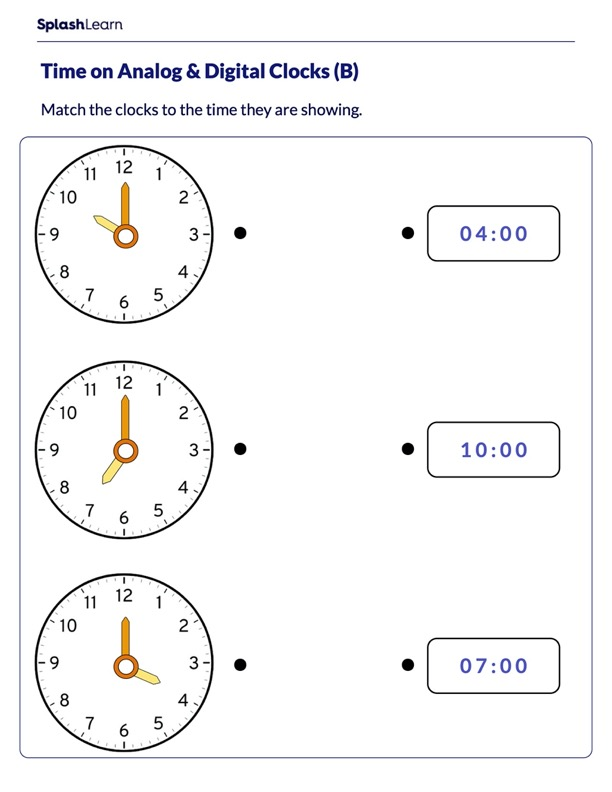 Match the Time to the Clock