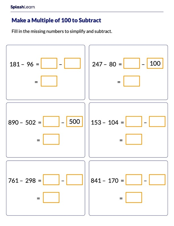 Making Multiple of 100 to Subtract