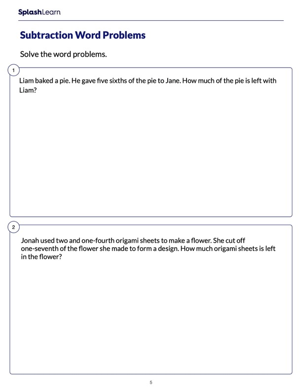 Word Problems on Fraction Subtraction
