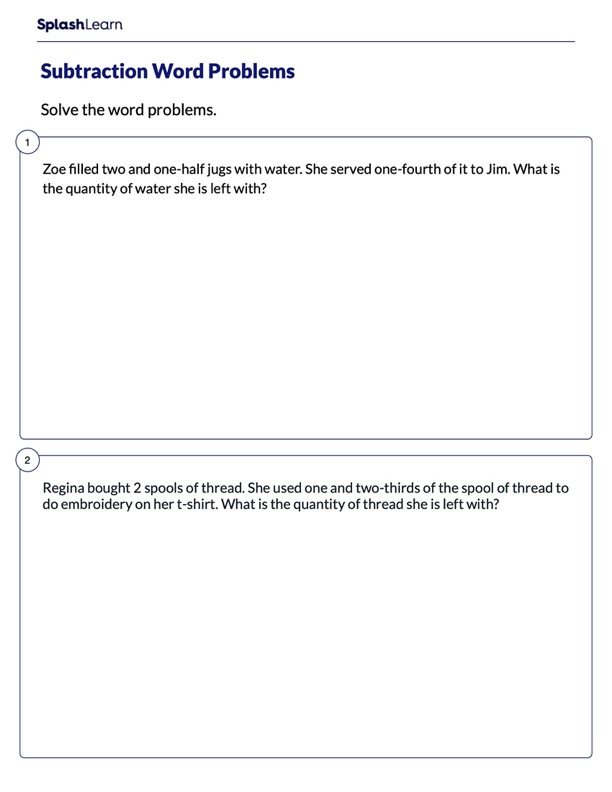 Word Problems on Subtracting Fractions