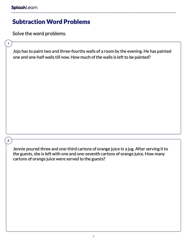 Word Problems on Subtracting Mixed Numbers