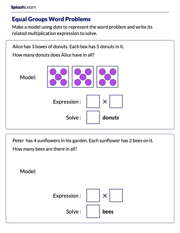Word Problems on Equal Groups