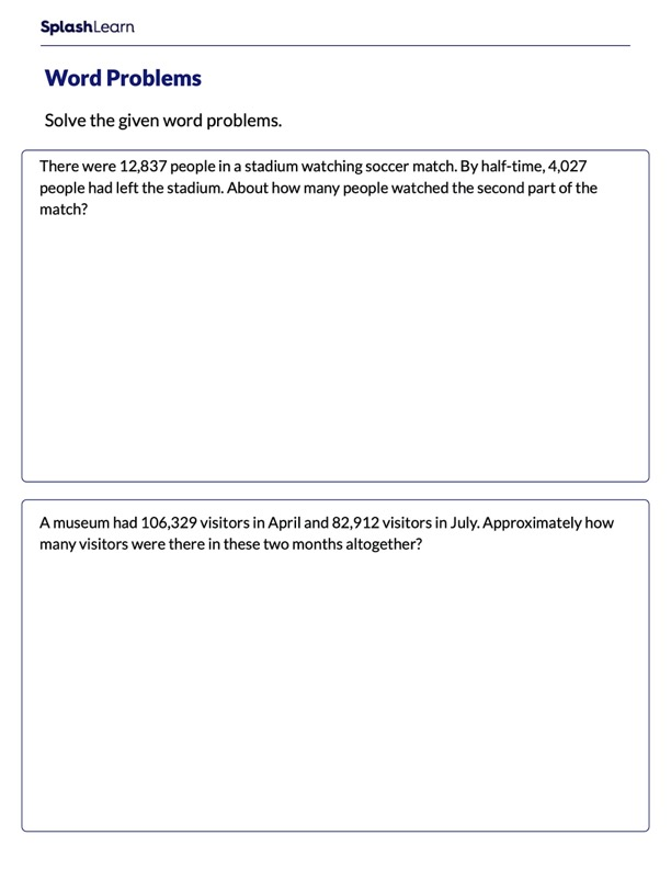 Word Problems on Estimating Sum or Difference