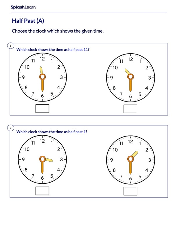 Identify the Clock Showing Half Past