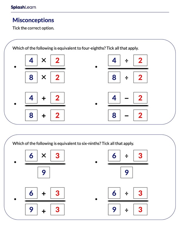 Misconceptions around Equivalent Fractions