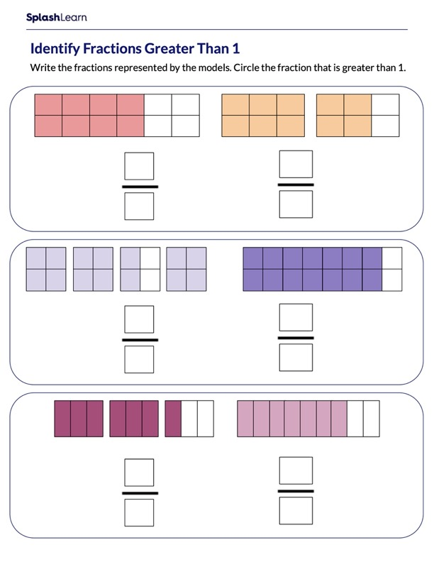 Use Models to Identify Fractions Greater than 1