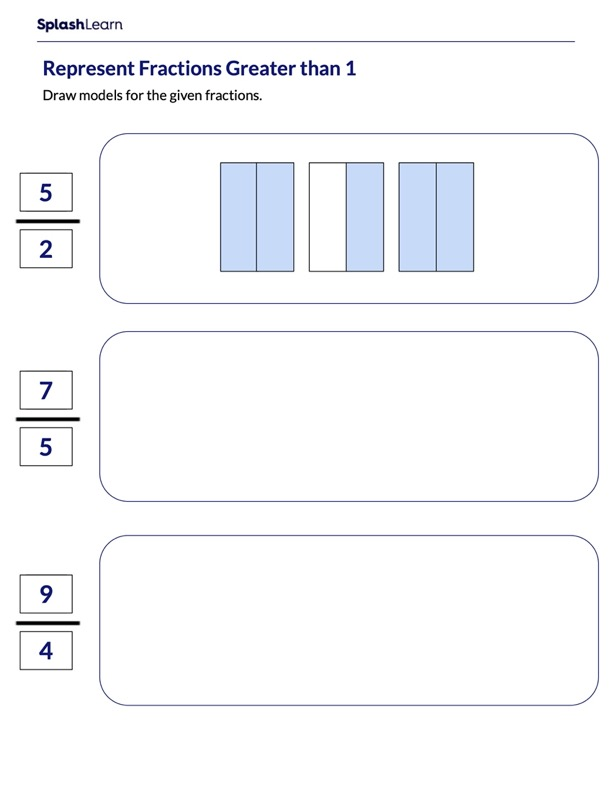 Represent Fractions Greater than 1 using Models