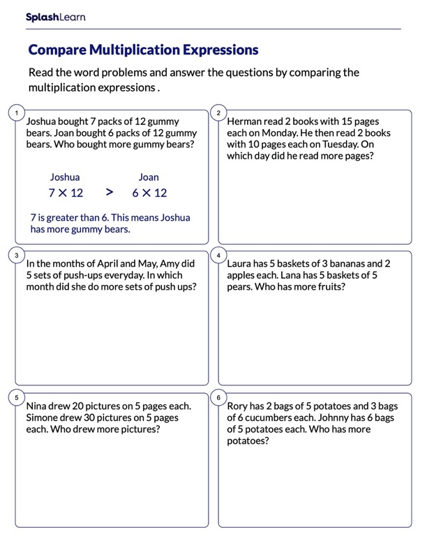 Comparing Multiplication Expressions