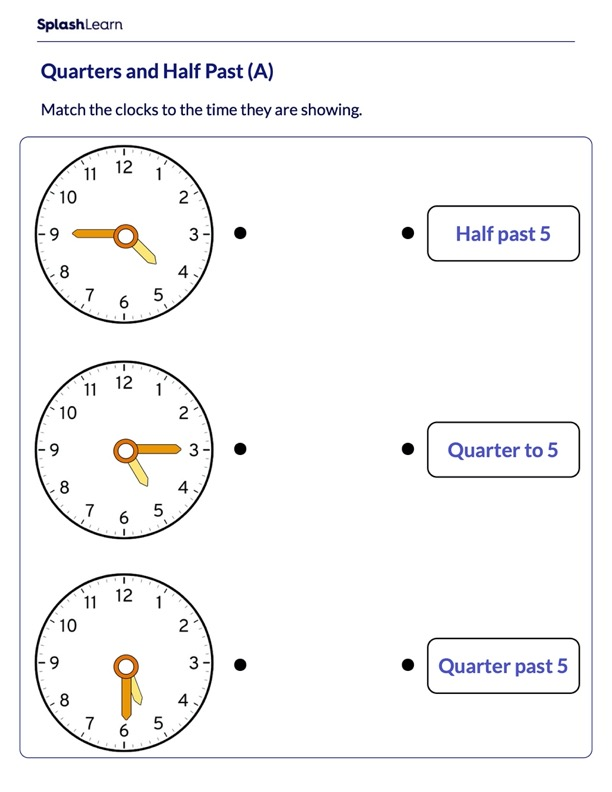 Quarters and Half Past on Analog clock