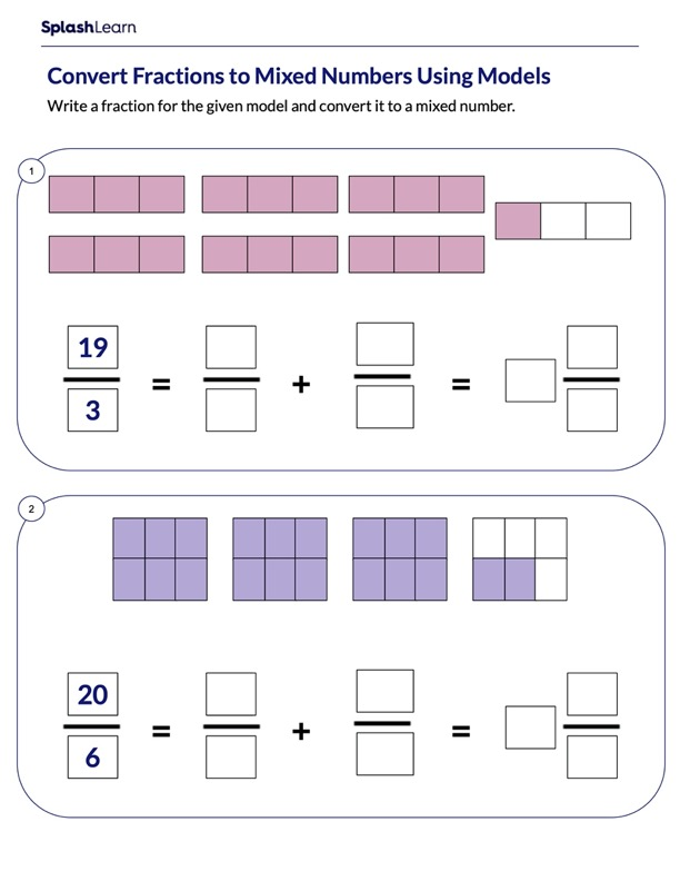 Use Models to Convert Fractions to Mixed Numbers