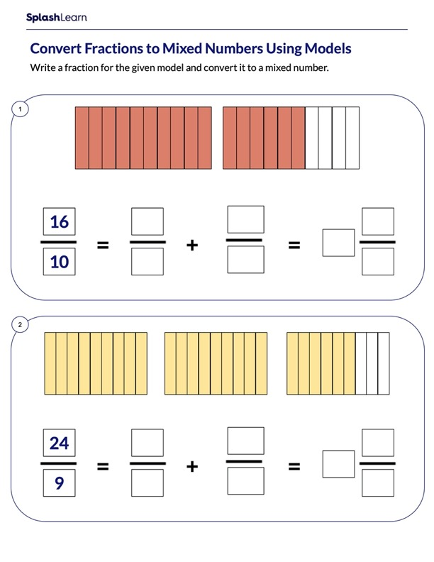 Converting Fractions to Mixed Numbers Using Models