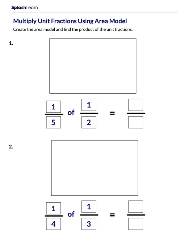 Create Area Models to Multiply Unit Fractions