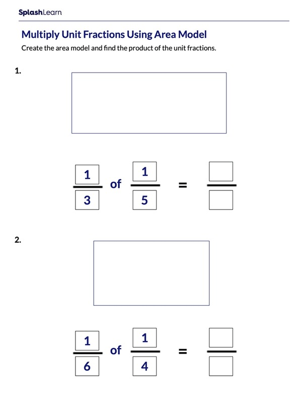Draw Area Models to Multiply Unit Fractions