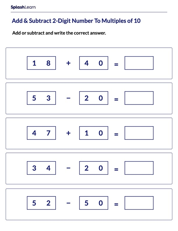 Add & Subtract Multiples of 10