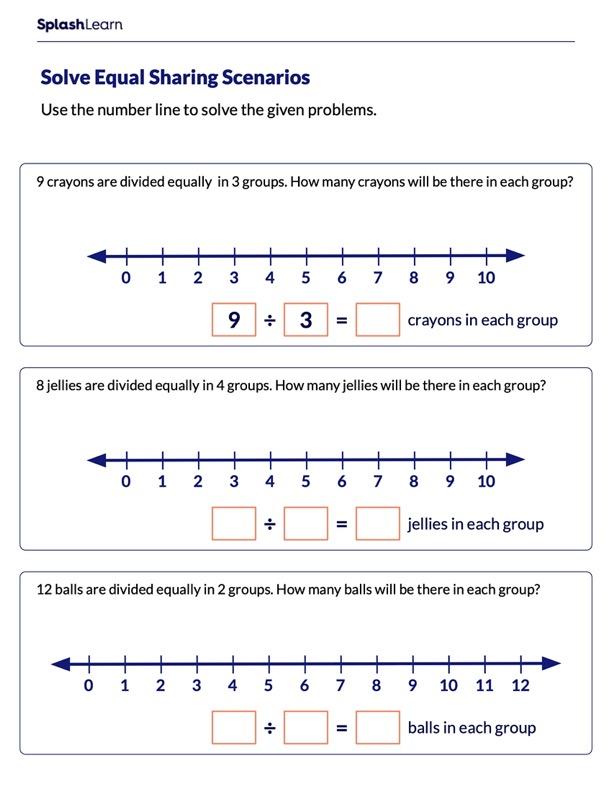 Solve Equal Sharing Scenarios Using Number Line