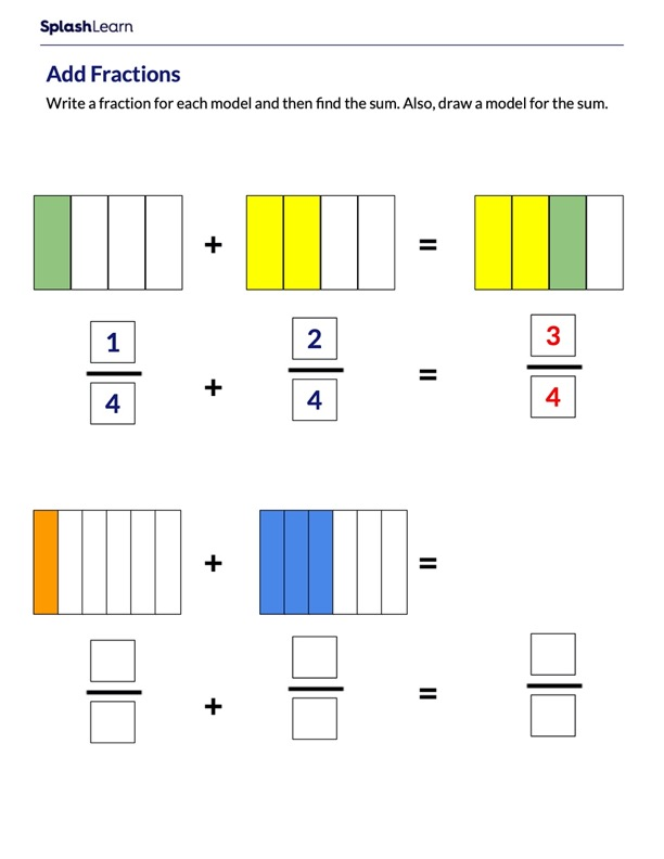 Add Like Fractions using Area Models