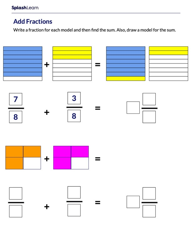 Use Models to Add Like Fractions
