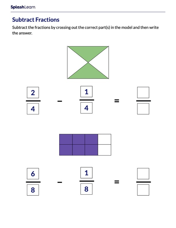 Subtract Fractions using Area Models
